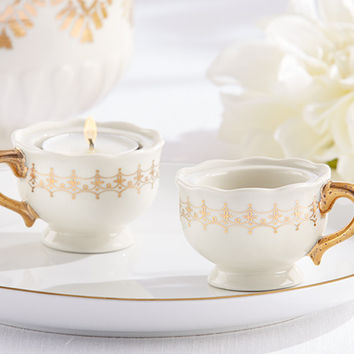 Classic Gold Teacup Tealight Candle Holders