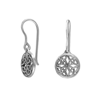Handmade 925 Sterling Silver Celtic Knot Round Drop Wire Earrings
