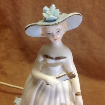 Vintage Mid Century Chatelaine Glazed Porcelain Perfume Lamp Night Light Blue Flowers