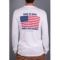 Back to Back World War Champs Long Sleeve Pocket Tee in White by Rowdy Gentleman