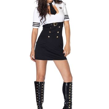 First Class Captain Pilot Costume (Small,Black/White)