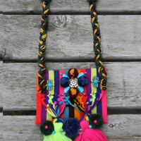 Boho Shoulder Bag Gypsy Hippie Festival Tribal Purse Tassels Pompoms Beaded Embroidered Braided Woven Colorful Leather Strap Neon Colors