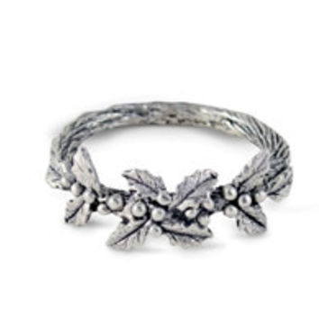 Pewter Holly Napkin Ring-Set of 4