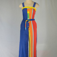 Vintage 1980's Rainbow Jumpsuit Striped Cutie!
