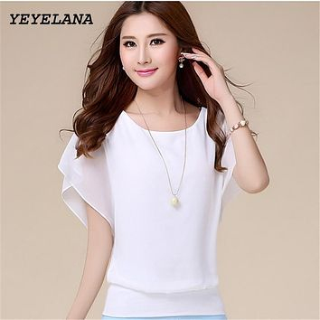 YEYELANA Women blouses shirts 2017 New Women Summer Chiffon Blouse Tops For Women Ruffle Batwing Short Sleeve Casual Shirt A015