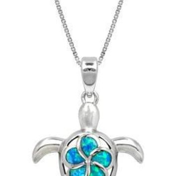 Sterling Silver Plumeria Sea Turtle Pendant