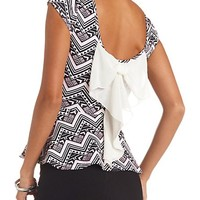 TRIBAL PRINT BOW-BACK PEPLUM TOP