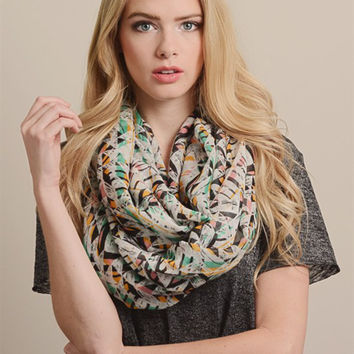 Abstract Multi Color Zig Zag Infinity Scarf
