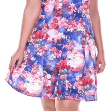 Plus Size Large Floral Print Dress Red Blue Sundress Fit/Flare