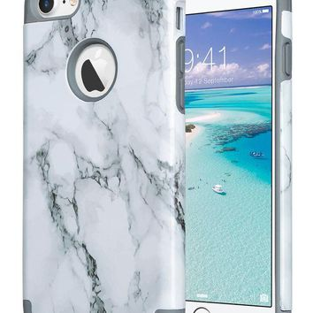 LMFMS6 iPhone 7 Case Marble, ULAK Dual Layer Slim Fit Hybrid Protection Anti-Scratch Shock Absorbing PC TPU Skin Hard Cover for Apple iPhone 7 4.7 inch- Grey Marble