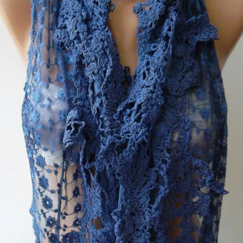Blue  Elegant Scarf   with Lace Edge