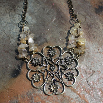 Power of Intention and Manifestation Golden Rutilated Quartz Statement Necklace
