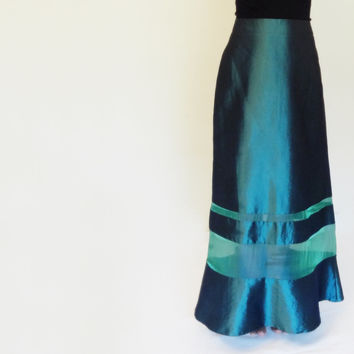 Long Maxi Party Skirt Deep Turquoise Teal