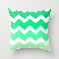 Ombre Chevron- Breakfast with Tiffany Throw Pillow by Rebecca Allen