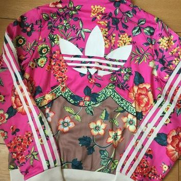 PEAPON adidas Originals Zip Front Tracksuit Top In Floral Print