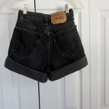 Vintage Black Levi 950 Shorts High Waisted Denim Shorts Black Denim Relaxed Fit Womens Teens High Waist 27 Jean Shorts Hipster Grunge
