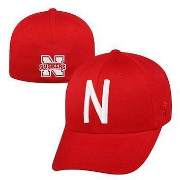 Licensed Nebraska Cornhuskers Official NCAA One Fit Premium Cuff Hat Cap Top of the World KO_19_1