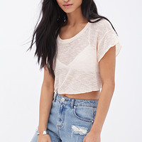 FOREVER 21 Open-Knit Cropped Sweater Peach