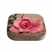 "Angie Turner ""A Touch Of Romance"" Pink Green Coasters (Set of 4)"