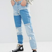 Boohoo Patched Jean at asos.com