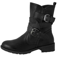 Womens Ankle Boots Wrap Around  Buckle Strap Motorcycle Riding Shoes Black SZ