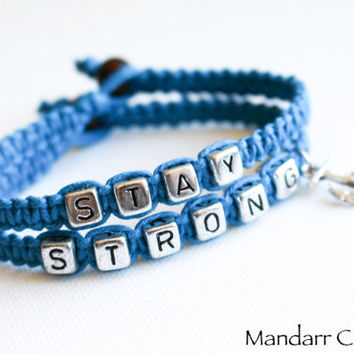 Stay Strong Bracelet Set, Hand Knotted Turquoise Hemp Jewelry, Macrame, Recovery, Gift for Her, Anchor Charm, Nautical