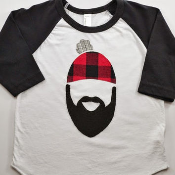 Mama's Little Lumberjack Tee: Buffalo Plaid Baby Toddler Kids Boys Baseball Tee Raglan Shirt