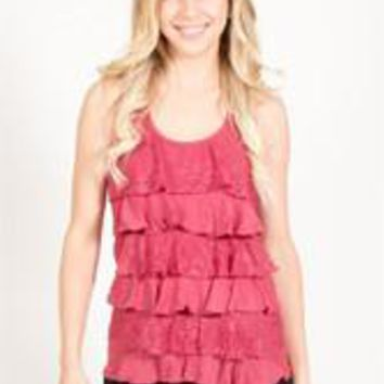 Lace Ruffle Front Tank Top - Burgundy - S