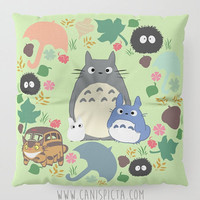 Totoro Kawaii My Neighbor Floor Pillow Round Square Cushion Anime Decorative Grey Graphic Print Green Home Decor Ghibli Wreath Fan Cute Pouf