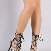 Squiggle Caged Lace Up Stiletto Heel