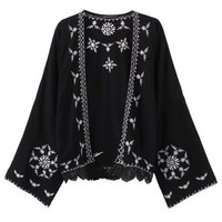 new Floral Embroidered Top Beach Casual Women Kimono Cardigan Long Sleeve Blouses Loose Tops