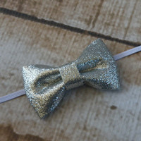 Silver Glitter Bow Headband Hair Accessories Baby Toddler Adult