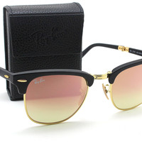 Ray-Ban RB2176 Folding Clubmaster Flash Gradient Unisex Sunglasses (Matte Black Frame/Brown Pink Mirror Gradient Lens 901S7O, 51)