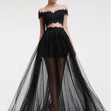 [119.99] Modest Tulle Off-the-shoulder Neckline A-line Two-piece Prom Dress With Lace Appliques - dressilyme.com