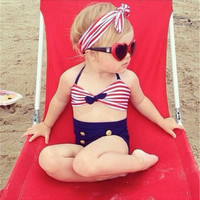 Baby Girls High Waist Bikini Sets Summer Beachwear Halter Striped Tops Headband And Solid Bottom 3PCS Kids Baby Girl Swimwear