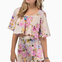 Oh My Love Floral Batwing Floaty Crop Top $54