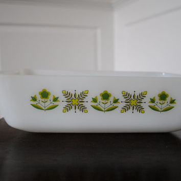Vintage Anchor Hocking Fire King Meadow Green Baking Dish/Loaf Pan