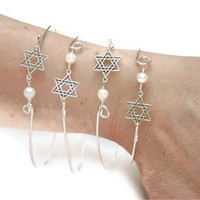 Magen David Bangle - Star of David Bracelet - Stackable Bracelet - Sterling Silver With Pearl - Size Small