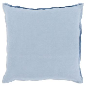 Linen Pillow with Flange - Light Blue