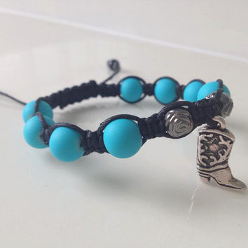 "Cowboy Boot Bracelet ""Roseo"" Turquoise with Roses Jewelry for Cowgirl"