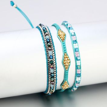 Bohemia Beads Weave Rope Friendship Bracelets For Woman Men Cotton Handmade Charm Bracelet & Bangles Ethnic Jewelry Gifts
