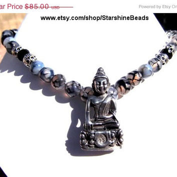 ON SALE Tibetan Silver Buddha Necklace, Dragons Vein Agate Necklace, Buddha Necklace, Silver Buddha Necklace, Silver Buddha, Dragon Veins Ag
