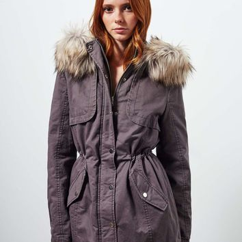 Grey Faux Fur Parka | Missselfridge
