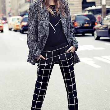 WINDOWPANE PLAID COLUMNIST ANKLE PANT from EXPRESS