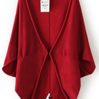 Wine Red Plain Half Sleeve Cardigan