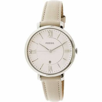 Jacqueline Silver Leather Japanese Quartz Fossil Watch For Women