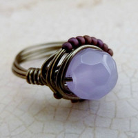 Opaque Amethyst and Toho Wire Wrapped Ring - Gunmetal & Gemstones Collection