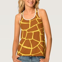 Brown Giraffe Skin Pattern All Over Print Tank Top