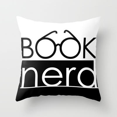 Book Nerd Logo Glasses Throw Pillow by cleopetradesign.com