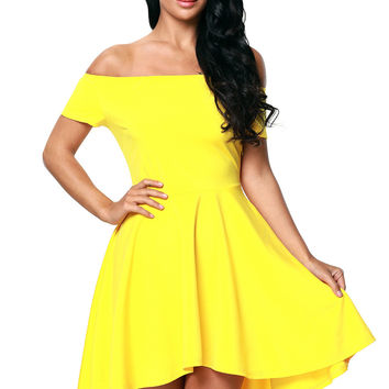 Yellow Shoulder Off All The Rage Skater Fit and Flare Dress